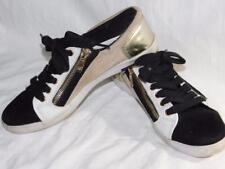6.5 MARC FISHER DESIGNER sneakers Gold black white, leather gold zips AZNW
