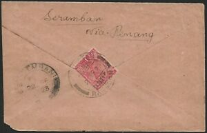 Malaya boxed SEREMBAN 8 Cts TO PAY on 1923 cover from Burma