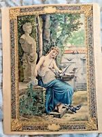FRENCH WATERCOLOR OF APHRODITE WITH DOVES CA. 1890 POSSIBLE BOOK COVER UNSIGNED