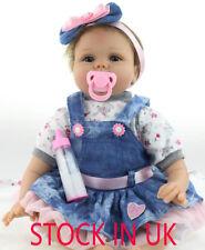 "Reborn Baby Girl Doll Realistic Bambole 22"" Lifelike Vinyl Newborn Kids Gifts"