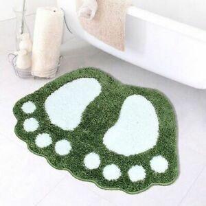 Foot Print Bath Mats Non Slip Foam Rug Pad Microfiber Bathroom Toilet Carpets