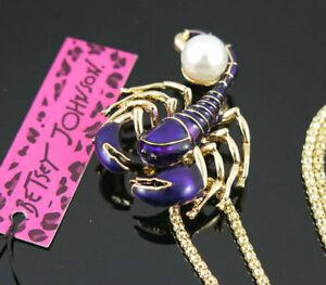 New Betsey Johnson pearl Purple Enamel Scorpion Pendant Sweater Necklace Chain