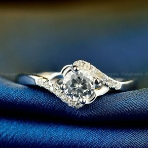 Solid 14k White Gold Sparkle Moissanite Twisted Engagement Ring 2.50 CT Round