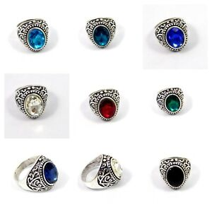 Faceted Multi Quartz Silver Plated Handmade Size 8.75 Man's Ring Jewelry JT2490