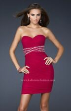 La Femme Short Ruched Dress writh Beaded Bands - Style 16956 / Fuchsia / Size 0