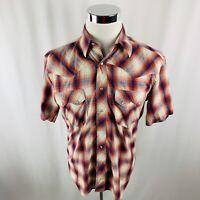 Rustler Short Sleeve Pearl Snap Button Plaid MultiColor Shirt Mens Medium M
