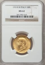 ITALY  1931-R  YR. IX  100 LIRE  UNCIRCULATED GOLD COIN, NGC CERTIFIED MS62