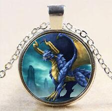 Vintage dragon Cabochon Tibetan silver Glass Chain Pendant Necklace #342