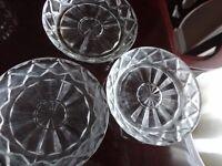 VINTAGE 3 CLEAR GLASS COASTERS / LEMON DISH
