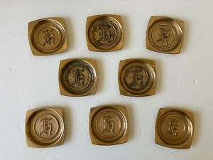 """Vintage Hyde Park """"H"""" Monogrammed Set of 8 Brass Coasters"""