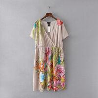 Lane Bryant Women Plus Size Dress Floral Wrap Chiffon Short Sleeve