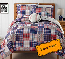 Boys Twin Plaid Reversible Baseball Comforter Set 3-Piece Kids Sports Bedding