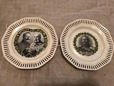 Pair 2 Antique Ww 1 German Hindenburg Era Chancellor Porcelain Plates
