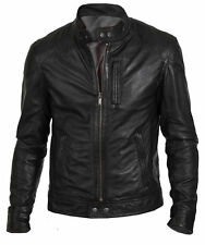 Men's Stylish Biker Hunt Black Motorcycle Leather Jacket Discounted Offer