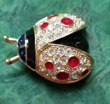 GORGEOUS Vintage ROMAN Ladybug Enamel and  Rhinestone Gold Tone Brooch