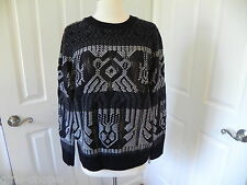 J CREW MIXED STITCH BLANKET SWEATER SZ.XS #B6521 BLACK