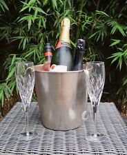 Pewter Finished Ice Bucket / Wine Cooler with Ice Cube Tongs,Etian Decor