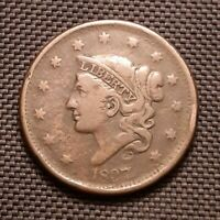1837 Coronet Head Large Cent, Head Of 1838 - Very Fine VF