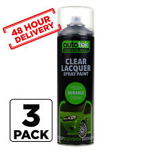 3 x AUTOTEK Clear Lacquer 500ML Spray Paint High Gloss Coverage 48 hr Delivery