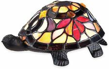 Indoor Decor Light Tiffany-Style Stained-Glass Shade Flower Turtle Table Lamp