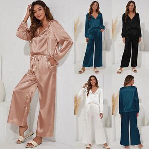 Womens Ladies Satin Pyjama Sets Silky Autumn Lounge Wear Pajamas Long Sleeve Pjs