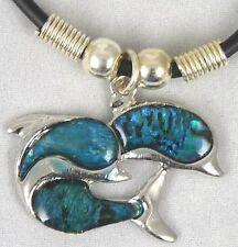 Schmuck Leder Kette und silber farben Motivanhänger Delfine glänzend neu N 3