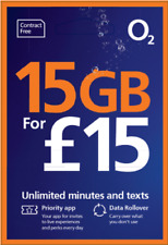 1P ONLY - O2 Pay as you go Mobile SIM Card - £15 unlimited calls & sms - ref1318