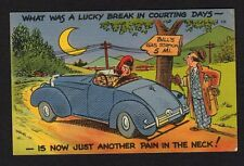Comic Postcard car runs out of gas, lucky in court days, now a pain in the neck