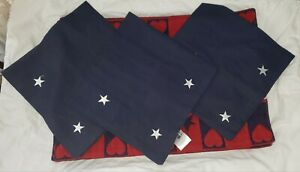 Set Sonoma Red White Blue Placements Napkins and Napkin Rings