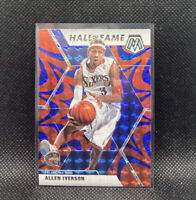 Allen Iverson Blue Reactive Mosaic Prizm 2020 Panini Hall Of Fame #287 76ers