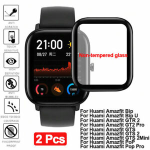 2Pcs HD Full Coverage Screen Protector film for Huami Amazfit Watch Screen Cover