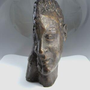 Signed Bronze Statue Sculpture Modernist 1950s Mid Century Face Hand Surrealist