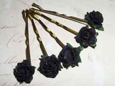 Black Rose Kirby Grips,Hair Flowers,Bridal,Bridesmaid,Festival,Party,Boho,Goth