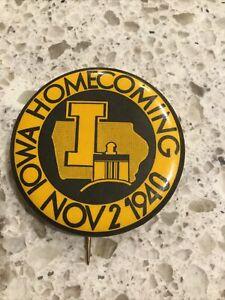 1940 Iowa Hawkeyes Homecoming College football rare pinback button pin badge