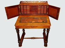 Victorian Burled Walnut Ladies Antique Desk W/ Secretary & Pierced Gallery