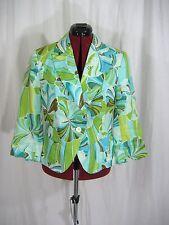 Zara Basic 3/4 Sleeve Green Tropical Blazer Size 10