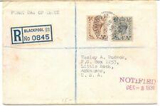 UK GB 1938 FDC REGISTERED BLACK POOL TO US