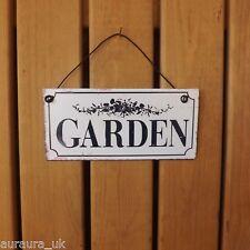 Retro Vintage Black & White Small Metal Plaque Garden Tin Sign