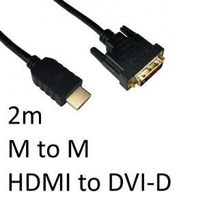 New DVI-D to HDMI 1.4 Display Cable Gold Flashed Connectors 2m Fast/Free Postage