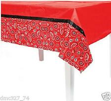 1 Birthday Party Cowboy WESTERN RED BANDANA PRINT Plastic Table Cover