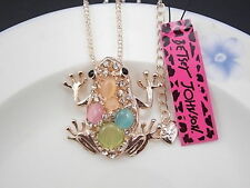 Betsey Johnson personality inlay Crystal frog pendant necklace # F151Y