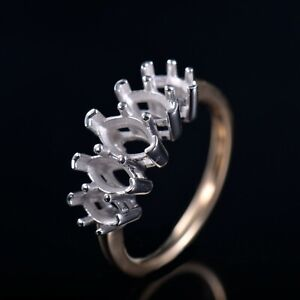Marquise Cut Solid 14K Gold Natural diamond Five Stone Semi Mount Ring Setting