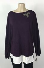 A17 Women's Charter Club Plum Jeweled Mock Layer Sweater Plus Size 2X NEW