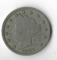 Rare Very Old Antique 1907 US Liberty Nickel Collection Coin USA Cent Money T17