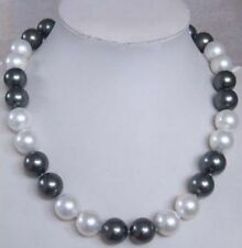 "20"" 10-11mm south sea white + black pearl necklace 14K clasp"