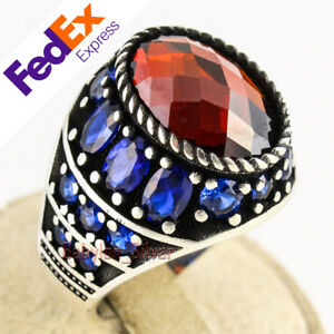 Faceted Ruby & Sapphire Turkish 925 Sterling Silver Luxury Men's Ring All Sizes