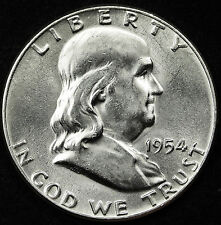 1954-p  Franklin Half Dollar. 100% Fully Separated Bell Line's. Nice B.U.*INV-A