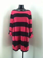 Caslon Pink and Black Striped Long Sweater Size M