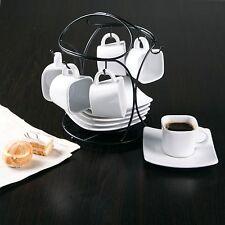 12 piece Elite Espresso Set Porcelain Coffee Cups/Saucers Turkish Metal Rack