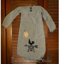 Primitive Decor ROOSTER WEATHERVANE NIGHTSHIRT Grungy,Cupboard Hanger,Country